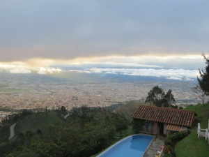La Estalita guest house swimming pool and the city of Ibarra below